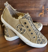 Tan and leopard sneaker