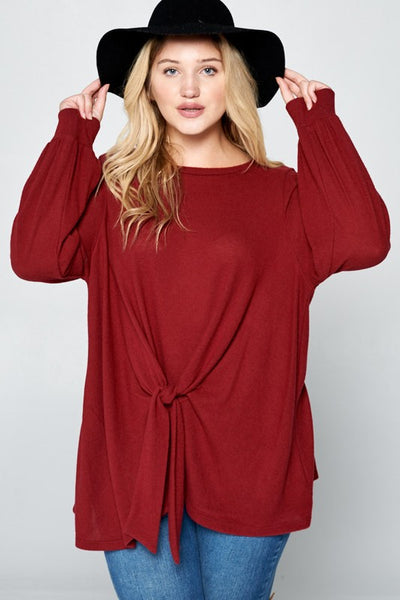 Hacci Brush Front Bow Tunic Top- Burgundy