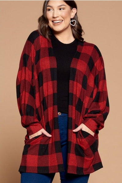 Buffalo Plaid Cardigan- Red/Black