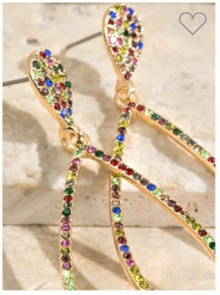 Rhinestone tear drop dangle earring- multi
