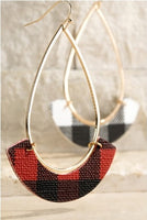 Tear drop buffalo plaid earring- Red/Black