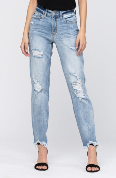 Mid-rise Destroyed Boyfriend Denim