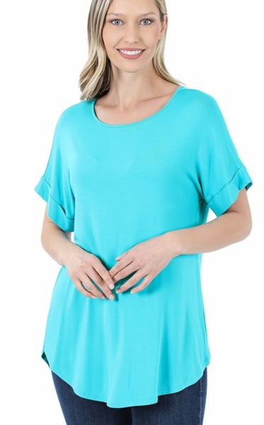 Rolled Sleeve Basic Tee - Ice Blue