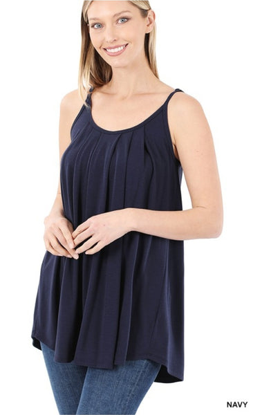 Pleated Cami with Adjustable Straps - Navy