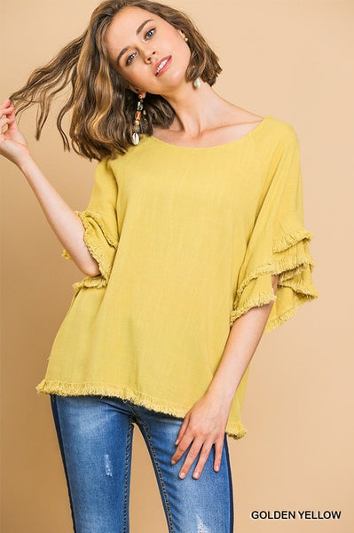 Layered Ruffle Sleeve Top with Frayed Hem- Yellow