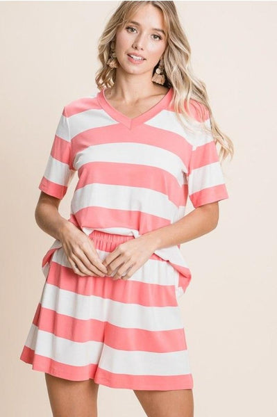 Jersey Casual Lounge Set - Coral
