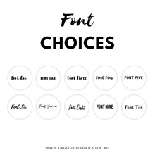 custom organised label font choice options