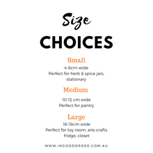 custom organised label size choice options