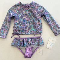 Purple Rash Guard 2pc Swim Suit