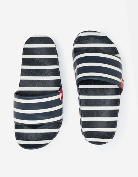 Navy Stripe Poolside Slides