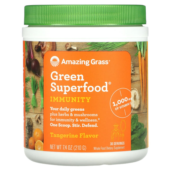 Amazing Grass, Immunity Tangerine Green Superfood 30 Servings, 7.4 Oz - 829835001699 | Hilife Vitamins