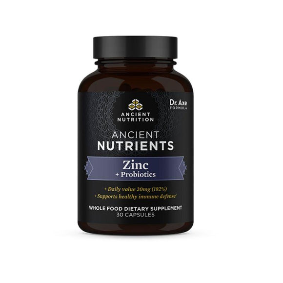 Ancient Nutrition, Zinc+Probiotics, 30 Capsules - 816401025265 | Hilife Vitamins