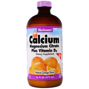 Bluebonnet, Liquid Calcium Magnesium Citrate Orange, 16 Oz - 743715006904 | Hilife Vitamins