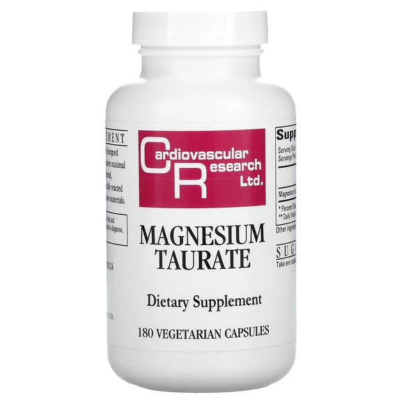 Cardiovascular Research, Magnesium Taurate 125 mg, 180 Vegetarian Capsules - 696859034862 | Hilife Vitamins
