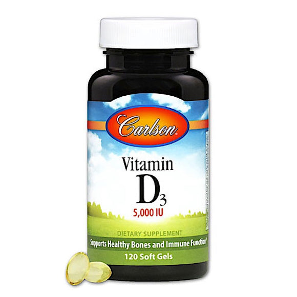 Carlson Labs, Vitamin D 5000 IU, 120 Softgels - 088395141102 | Hilife Vitamins