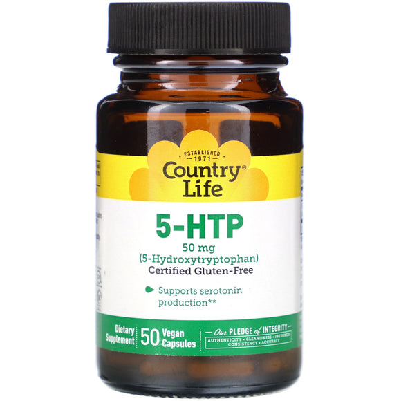 Country Life, 5-HTP TRYPTOPHAN 50 MG, 50 Capsules - 015794016502 | Hilife Vitamins