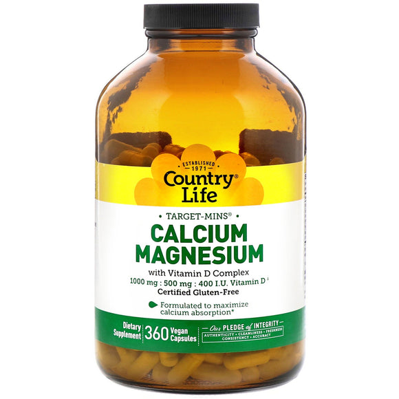 Country Life, Target-Mins Calcium Magnesium with Vitamin D Complex, 360 Vegetarian Capsules - 015794024798 | Hilife Vitamins