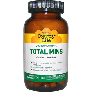 Country Life, Total Mins Multi-Mineral Complex Target Mins, 120 Tablets - 015794025115 | Hilife Vitamins