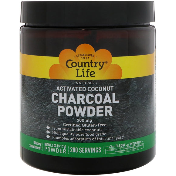 Country Life, ACTIVATED CHARCOAL, 5 Oz Powder - 015794034957 | Hilife Vitamins