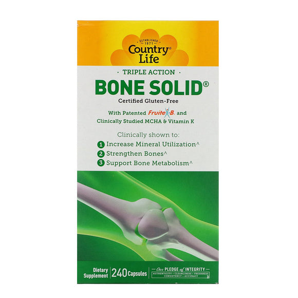 Country Life, BONE SOLID, 240 Capsules - 015794050445 | Hilife Vitamins