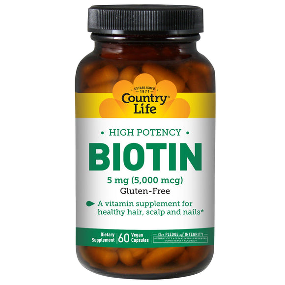 Country Life, Biotin 5 Mg Super Potency, 60 Vegetarian Capsules - 015794065050 | Hilife Vitamins