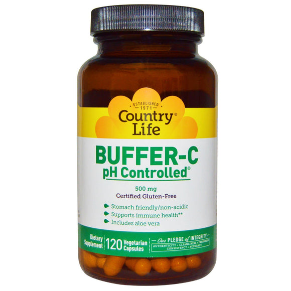 Country Life, Buffer C Ph Controlled 500 Mg, 120 Vegetarian Capsules - 015794070856 | Hilife Vitamins