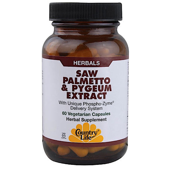 Country Life, Saw Palmetto & Pygeum Extract, 60 Vegetarian Capsules - 015794092858 | Hilife Vitamins