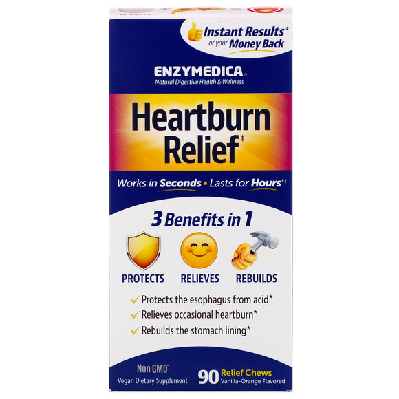 Enzymedica, Heartburn Relief, 90 Chewables - 670480100318 | Hilife Vitamins