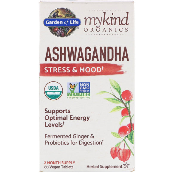 Garden Of Life, Mykind Organics Herbal Ashwagandha, 60 Vegan Tablets - 658010121873 | Hilife Vitamins