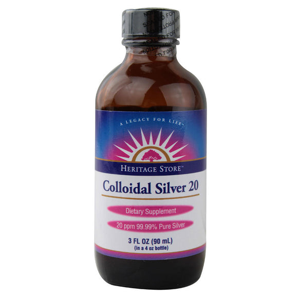Heritage, Colloidal Silver 20 ppm, 3 Oz - 076970090013 | Hilife Vitamins