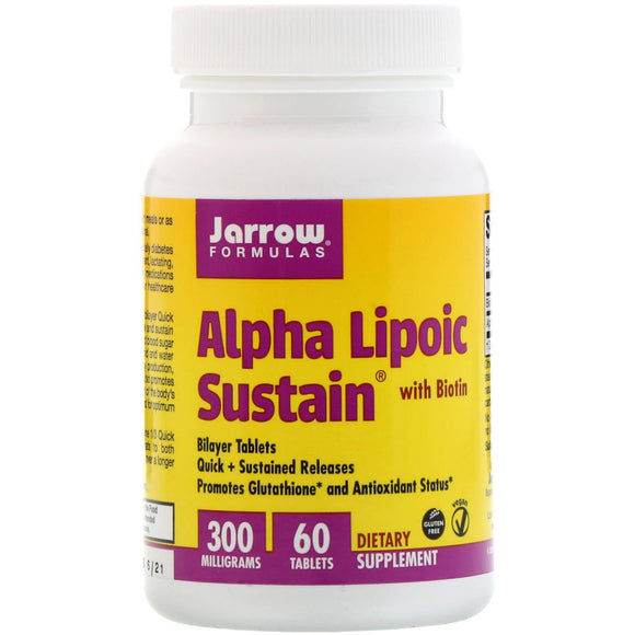 Jarrow Formulas, Alpha Lipoic Sustain with Biotin, 300 mg, 60 Tablets - 790011200109 | Hilife Vitamins