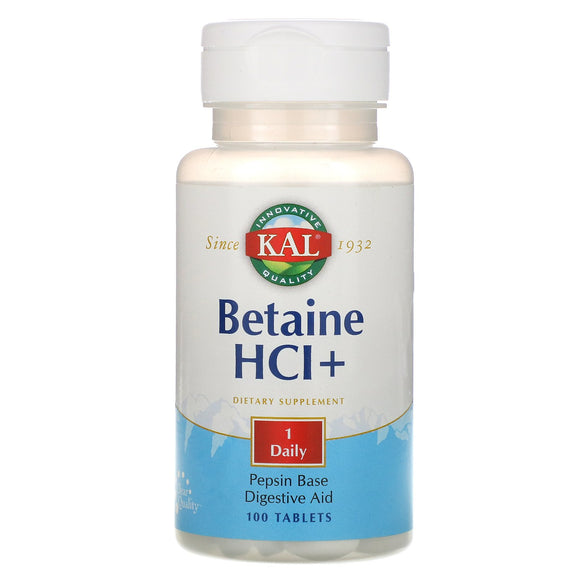 Kal, Betaine HCl+ 250mg, 100 Tablets - 021245102656 | Hilife Vitamins