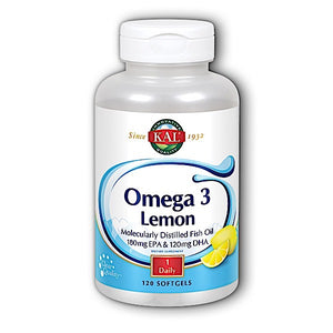 Kal, Omega 3 With Lemon 1000 Mg, 120 Softgels - 021245840169 | Hilife Vitamins