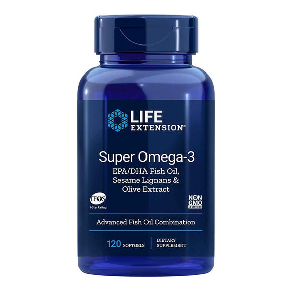 Life Extension, Omega3 Epa/Dha With Sesame Lignans & Olive Fruit Ext, 120 Softgels - 737870198413 | Hilife Vitamins