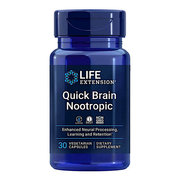 Life Extension, Quick Brain Nootropic, 30 Vegetarian Capsules - 737870240631 | Hilife Vitamins