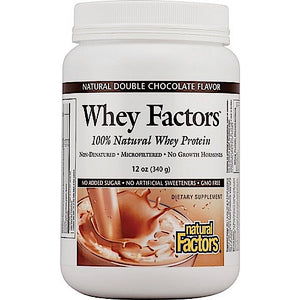 Natural Factors, Whey Factors Grass Fed Whey Protein Powder, Double Chocolate, 12 Oz - 068958029276 | Hilife Vitamins