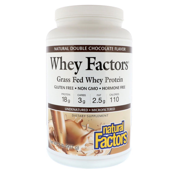Natural Factors, Whey Factors Grass Fed Whey Protein Powder, Double Chocolate, 2 Lbs - 068958029344 | Hilife Vitamins