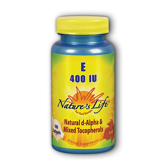 Nature's Life, E D-Alpha & Mixed Tocopherols 400 iu, 100 Softgels - 040647002036 | Hilife Vitamins