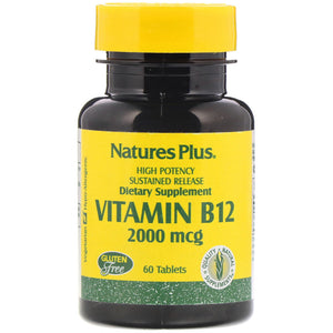 Nature's Plus, Vitamin B-12 2,000 Mcg S/R, 60 Tablets - 097467017306 | Hilife Vitamins