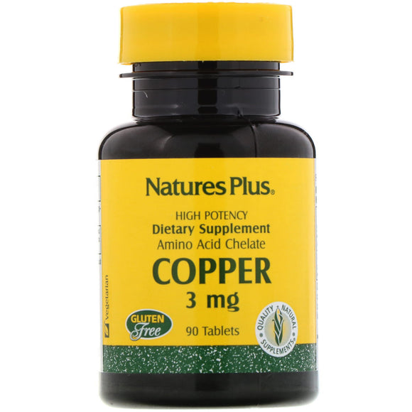 Nature's Plus, Copper 3 Mg, 90 Tablets - 097467034303 | Hilife Vitamins