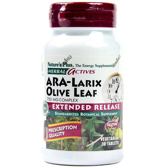 Nature's Plus, Ara-Larix + Olive Leaf Extended Release, 30 Vegetable Tablets - 097467073081 | Hilife Vitamins