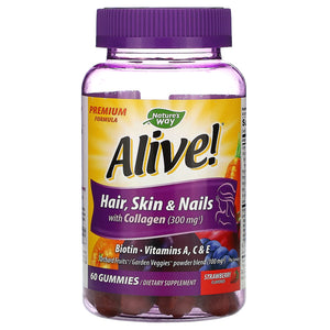 Nature's Way, Alive! Hair, Skin & Nail Gummy, 60 Gummies - 033674119730 | Hilife Vitamins