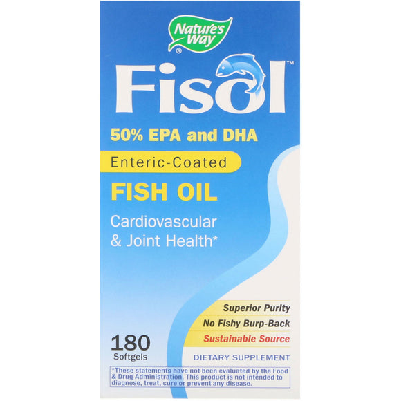 Nature's Way, Fisol Delayed-Release Fish Oil, 180 Softgels - 033674153345 | Hilife Vitamins