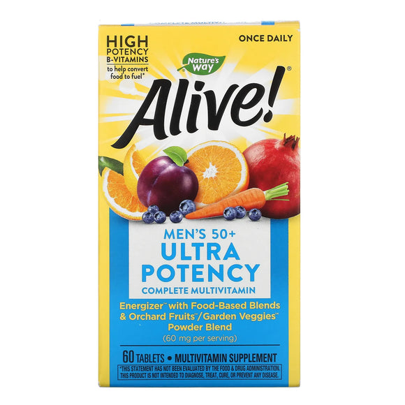 Nature's Way, Alive! Once Daily, Men's 50+ Multi-Vitamin, 60 Tablets - 033674156919 | Hilife Vitamins