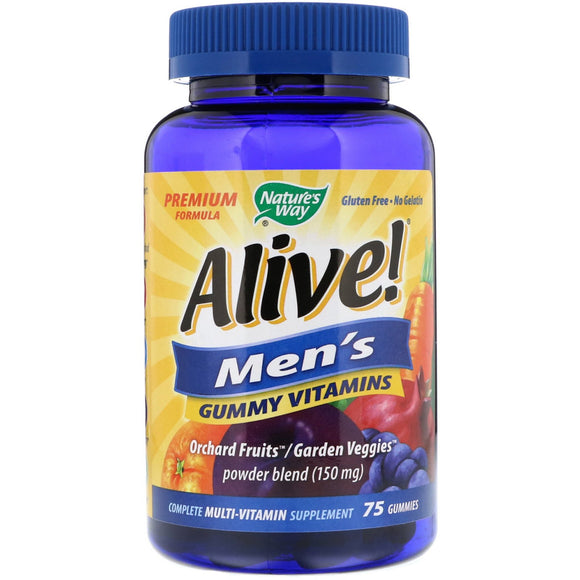 Nature's Way, Alive! Men's Gummy Multi Vitamin, 75 Gummie - 033674158951 | Hilife Vitamins