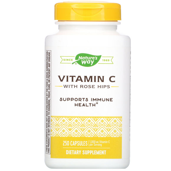 Nature's Way, Vitamin C 500 With Rose Hips, 250 Capsules - 033674403112 | Hilife Vitamins
