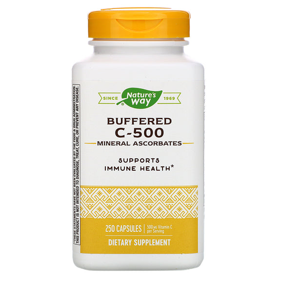 Nature's Way, Vitamin C 500 Ascorbate Buffered, 250 Capsules - 033674403211 | Hilife Vitamins