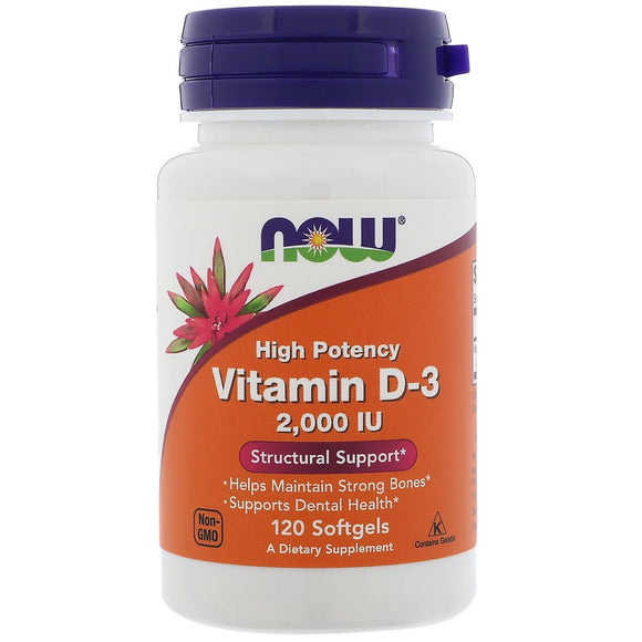 Now Foods, D-3 2000 IU, 120 Softgels - 733739003676 | Hilife Vitamins