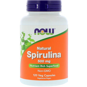 Now Foods, Spirulina 500 Mg, 120 Veg Capsules - 733739027023 | Hilife Vitamins