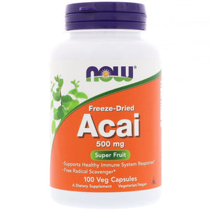 Now Foods, Acai 500 Mg, 100 Veg Capsules - 733739033550 | Hilife Vitamins